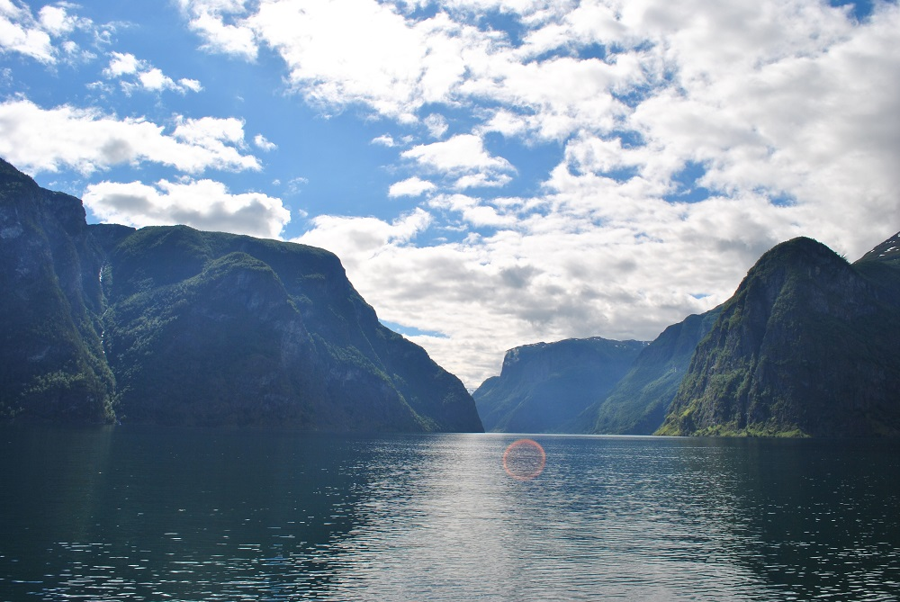 Blick zurück in den Aurlandsfjord (ein Nebenarm des Sognefjords)